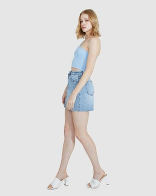Alice In The Eve Bailey Asymmetric Knit Rib Top - Tops (BLUE)