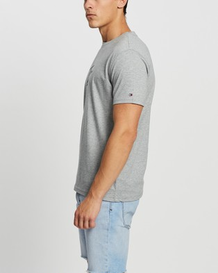 Tommy Hilfiger - Short Sleeve Logo Tee - T-Shirts & Singlets (Grey Heather) Short Sleeve Logo Tee