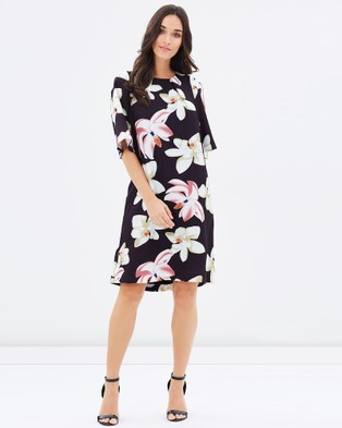 Pink Ruby – Flora Floaty Sleeve Shift Dress – Dresses (Print)