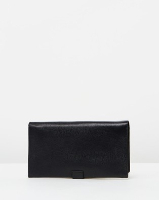 Loop Leather Co Leather Travel Wallet with Tab Closure - Wallets (Black)