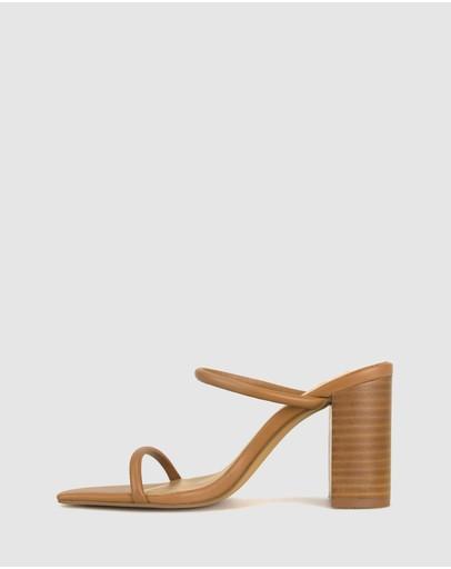 Zu Gem Leather Block Heel Sandals Tan