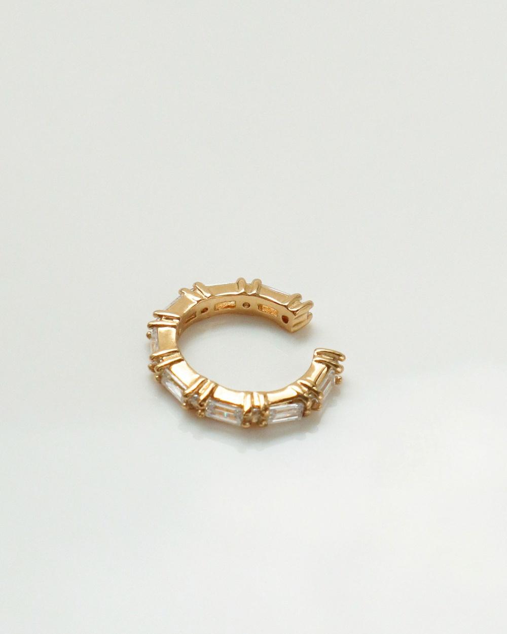 Wanderlust + Co Multi Baguette Gold 11mm Ear Cuff Jewellery Gold