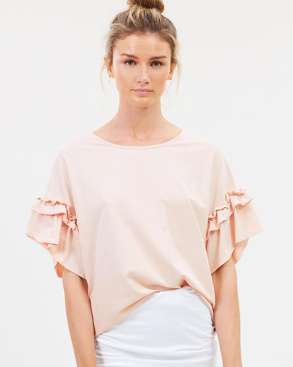 Lincoln St The Frill Cuff Tee Tops Smoke Pink The Frill Cuff Tee