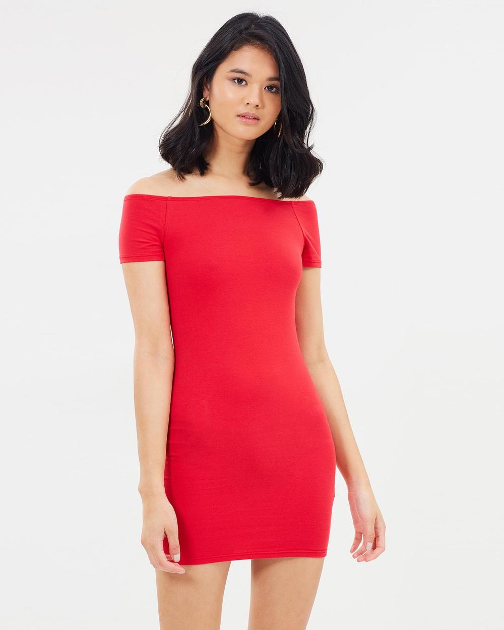 Miss Selfridge Bardot Body Con Dress Bodycon Dresses Red Bardot Body-Con Dress