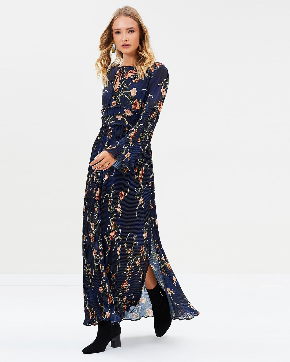 We Are Kindred Adele Pleated Maxi Dress Printed Dresses Midnight Oriental Adele Pleated Maxi Dress