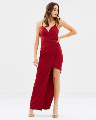 Bariano – Tied Together Wrap Draped Gown – Bridesmaid Dresses Burgundy