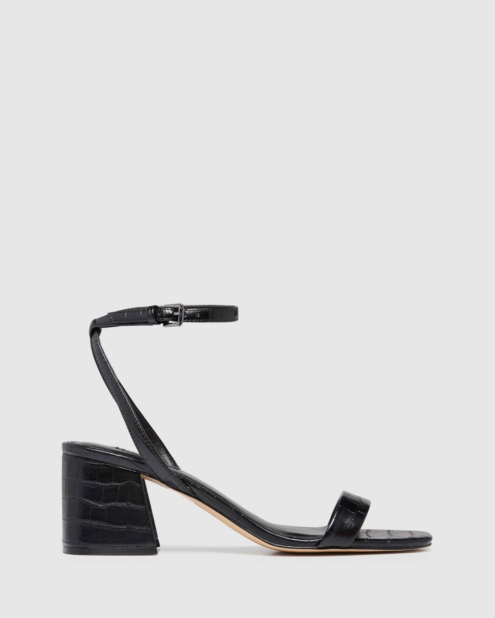 Nine West Giada Sandals BLACK CROC Australia