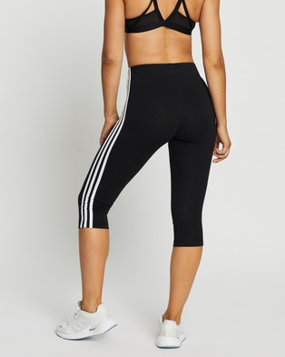 adidas Performance 3 Stripes 3 4 Tights - 3/4 Tights (Black & White)