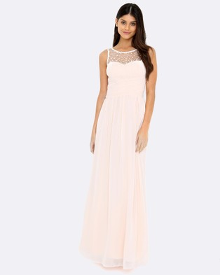Little Mistress – Embellished Maxi Dress – Bridesmaid Dresses (Nude)