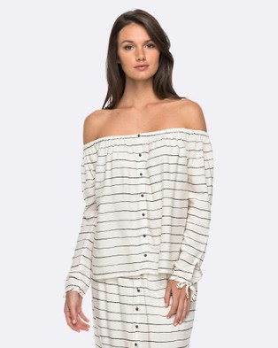 Roxy – Womens Ms Brightside Off The Shoulder Top MARSHMALLOW PENCIL S