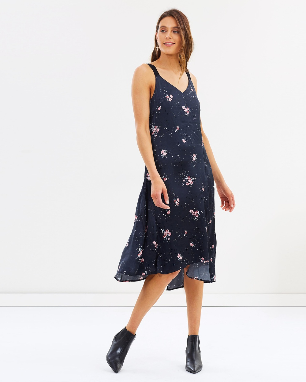 Incu Collection Mulholland Silk Dress Printed Dresses Black Print Mulholland Silk Dress