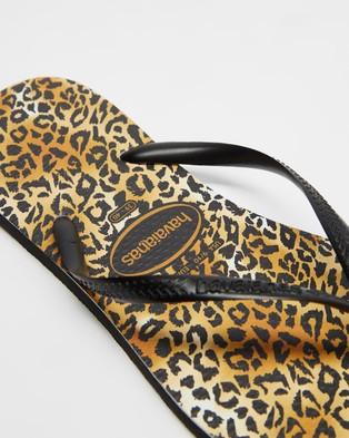 Havaianas - Slim Leopard   Women's - All thongs (Black & Black) Slim Leopard - Women's