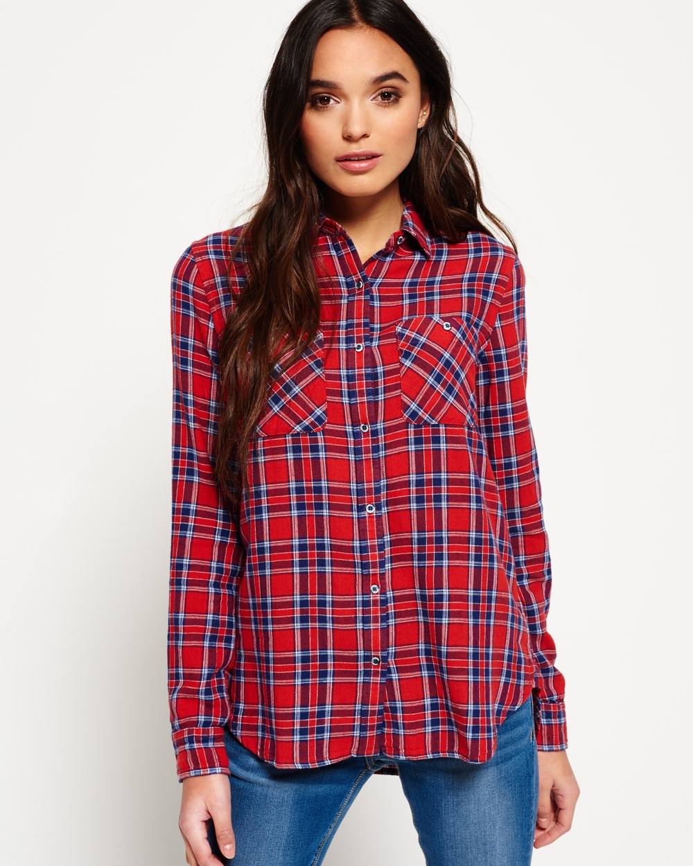 Superdry Utility Check Boyfriend Shirt Tops Fairfield Check Utility Check Boyfriend Shirt