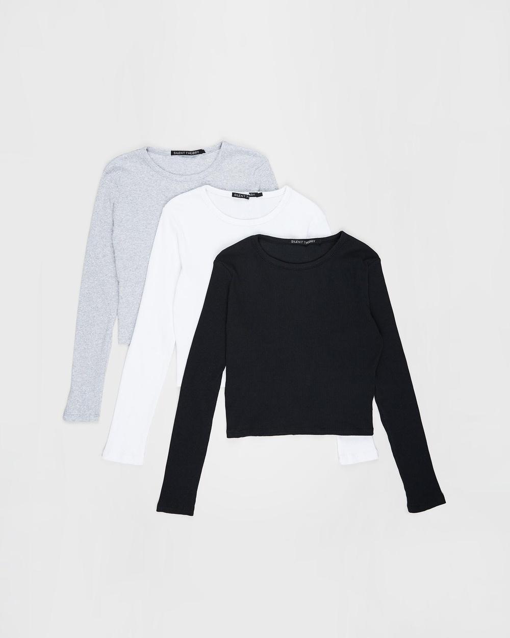 Silent Theory - 3 Pack Manhattan Long Sleeve Tee - T-Shirts & Singlets (MULTICOLOURED) 3-Pack Manhattan Long Sleeve Tee