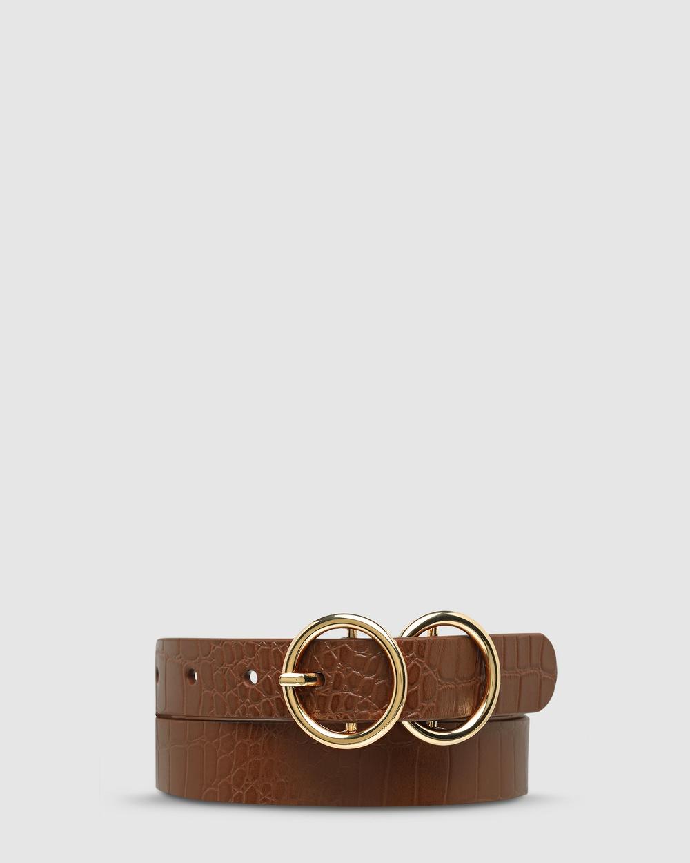 Status Anxiety Mislaid Skinny Belt Belts Tan Croc/Gold