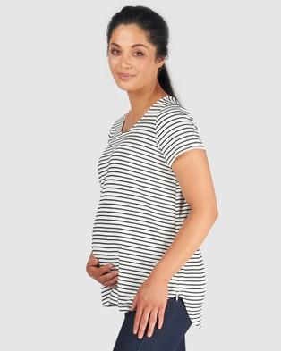 Pea in a Pod Maternity Matilda Nursing Tee - T-Shirts & Singlets (White Black Stripe)