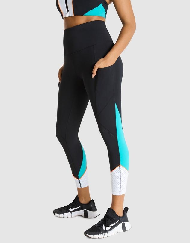 Women Monochromatic Blocked Ankle Grazer Tights