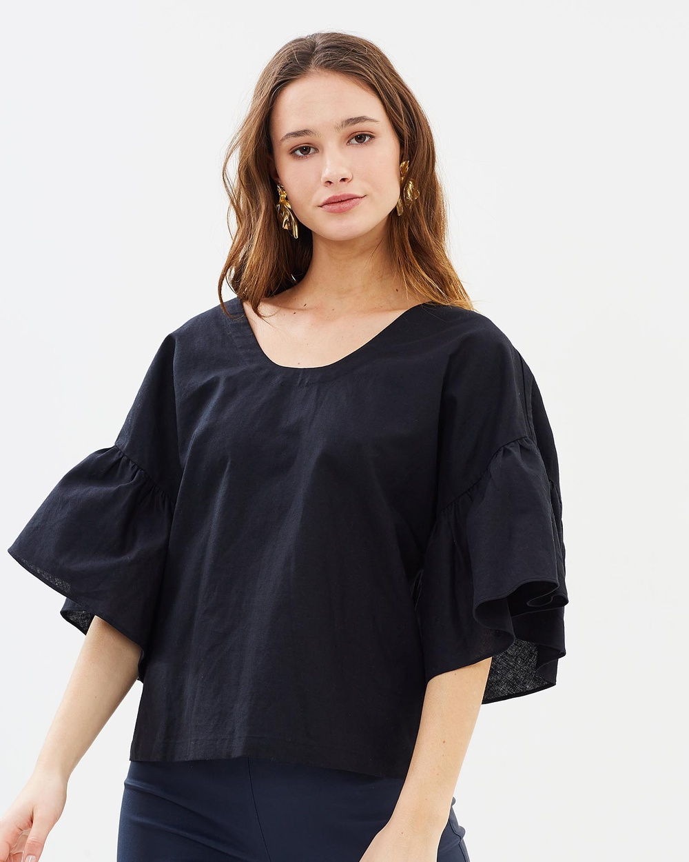 IMONNI Kira Linen Cotton Top Tops Black Kira Linen Cotton Top