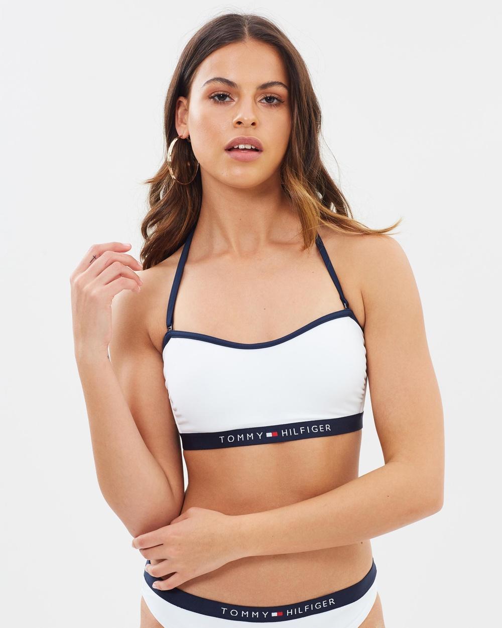 Tommy Hilfiger Logo Bandeau Bikini Top Bikini Tops Bright White Logo Bandeau Bikini Top