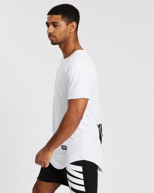 VILLIN Faded Faith Drop Front Tee - T-Shirts & Singlets (White)