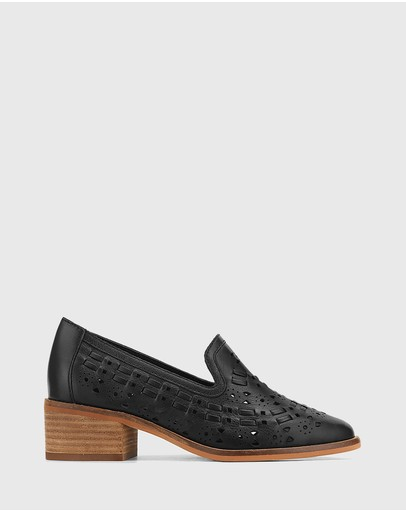 Wittner - Flash Leather Block Heel Loafers