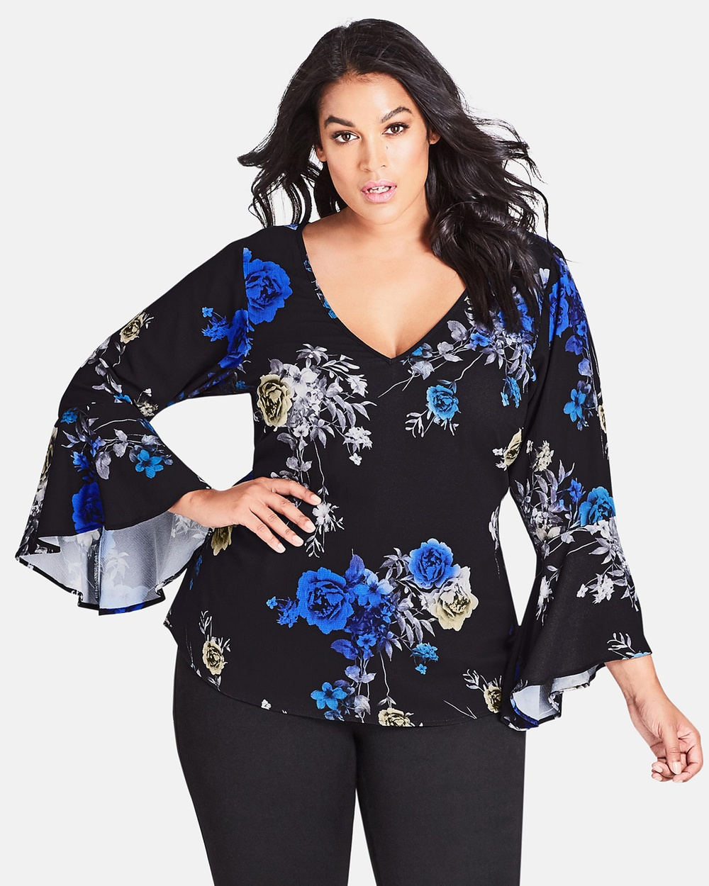 City Chic Electric Bell Top Tops Electric Bouquet Electric Bell Top