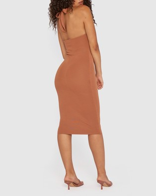BY JOHNNY. Scarlette Knit Midi Dress - Bodycon Dresses (Burnt Caramel)