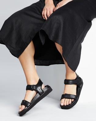 AERE - Leather & Neoprene Chunky Sandals Shoes (Black Neoprene)