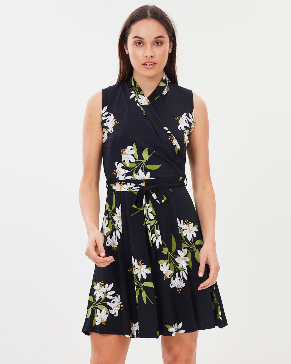Wallis Spring Lily Scuba Dress Dresses Black Spring Lily Scuba Dress