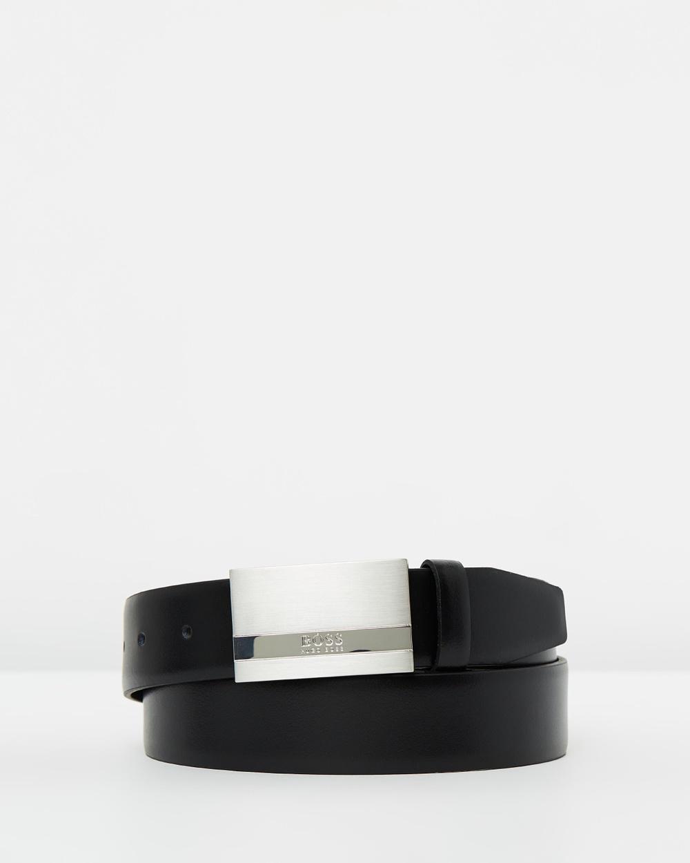 BOSS Baxton Leather Belt Belts Black