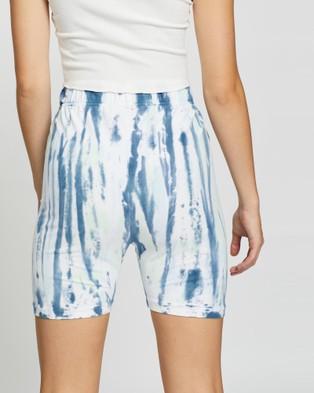 Love and Nostalgia Barry Tie Dye Bike Shorts - High-Waisted (Blue Hawaii)