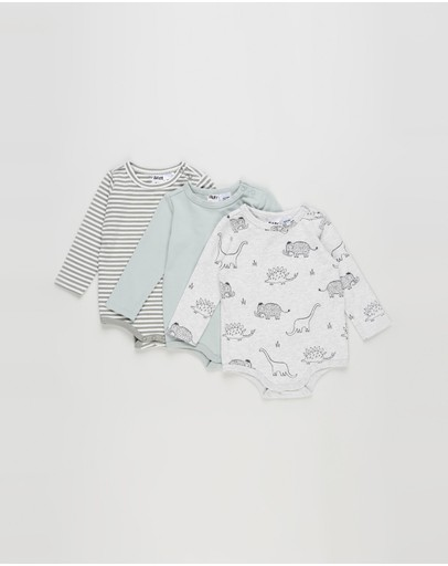 Cotton On Baby - Long Sleeve Bubbysuit - 3 Pack - Babies