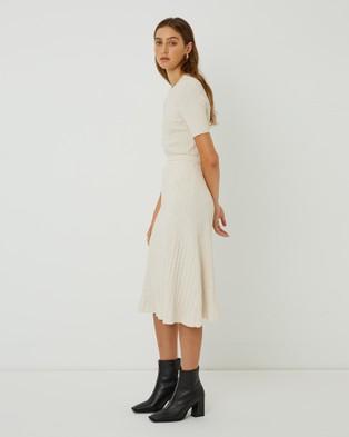 FRIEND of AUDREY Carolina Knit Skirt - Pleated skirts (Speckled Vanilla)
