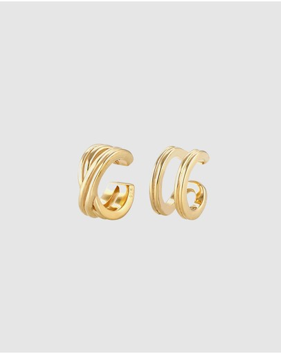 Elli Jewelry Earrings Earcuff Geo Basic Minimal In 925 Sterling Silver Gold Plated