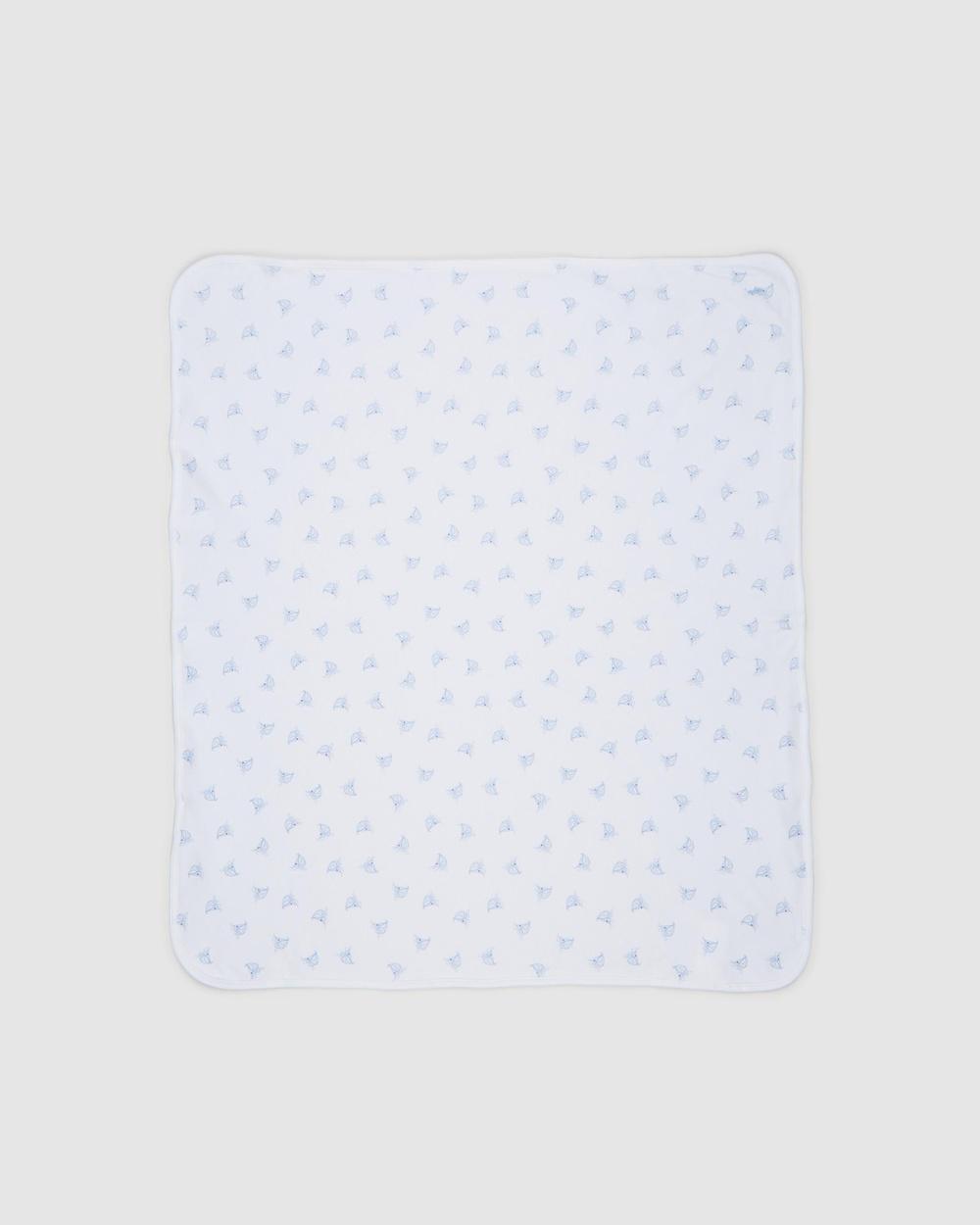 Polo Ralph Lauren Reversible Sailboat Blanket Home White & Blue