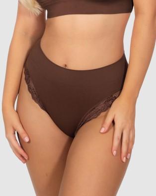 B Free Intimate Apparel Contour Lace High Cut Briefs   3 Pack - Bikini Briefs (Chocolate)