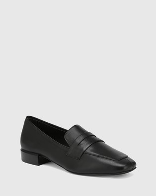 Wittner August Leather Square Toe Loafers Flats Black