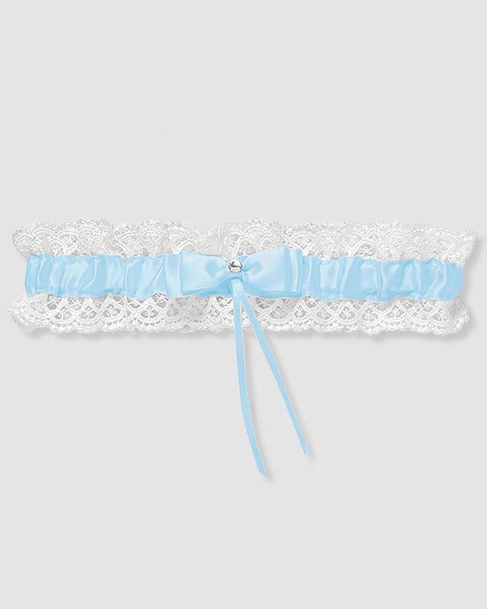 B Free Intimate Apparel Bridal Garter Vintage Lace Wedding & Baby Blue