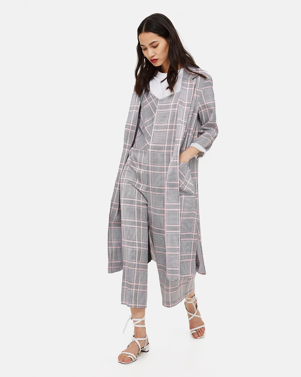 094918f139e5 Checked Duster Coat by TOPSHOP Online | THE ICONIC | Australia