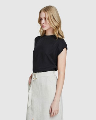 Oxford Lauren Woven Front T shirt - Tops (Black)