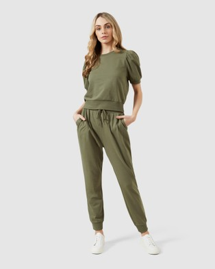 French Connection Cropped Puff Sleeve Sweat - Sweats (KHAKI)