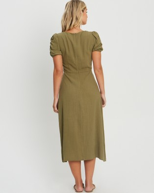 The Fated Willow Midi Dress - Dresses (Khaki)