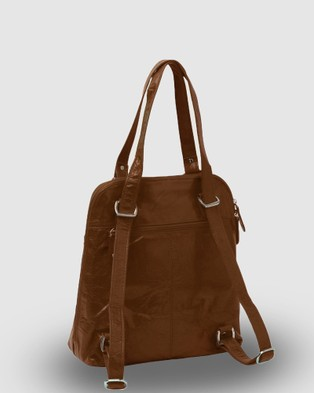 Cobb & Co Poppy Leather 2 in 1 Convertible Backpack - Backpacks (Cognac)