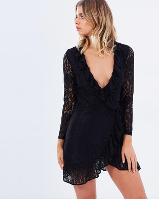 Lioness – Lace Wrap Dress Black