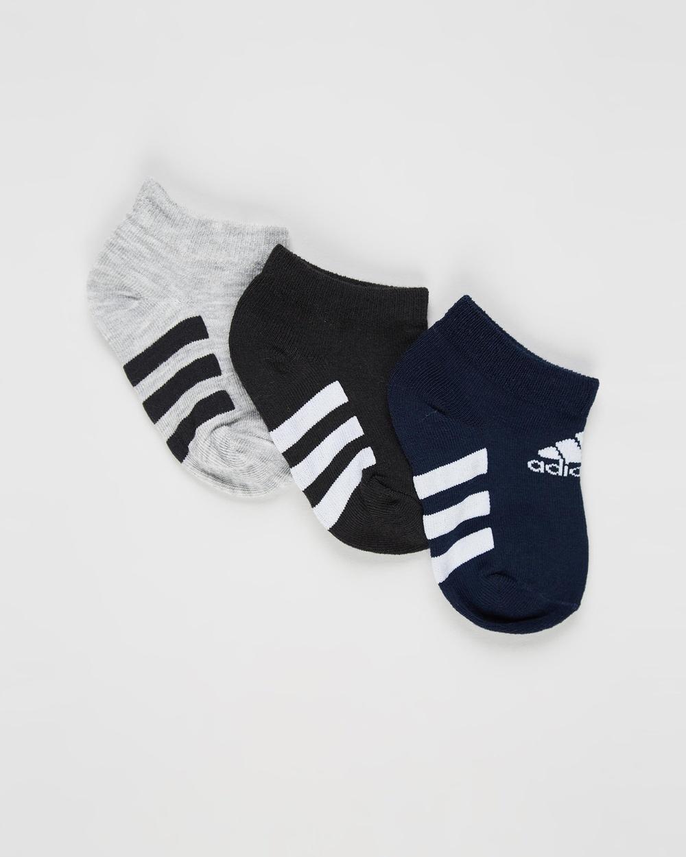 adidas Performance Ankle Socks 3 Pack Kids Teens & Tights Medium Grey Heather, Black Collegiate Navy 3-Pack Kids-Teens