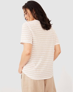 Ceres Life - Linen Weekend Tee T-Shirts & Singlets (White Pebble Stripe)