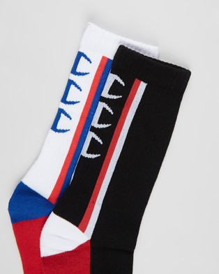 Champion 2 Pack Sporty Crew Socks White & Black 2-Pack