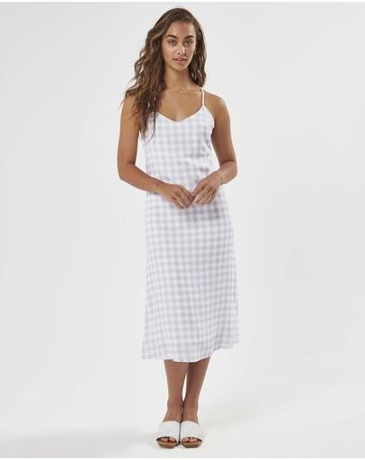 Charlie Holiday Bassk Slip Dress Lilac Gingham