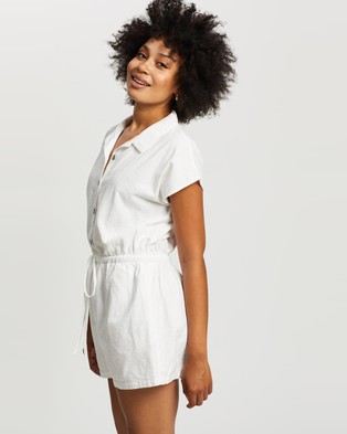 Cotton On Woven Dulce Button Through Playsuit - Jumpsuits & Playsuits (White)