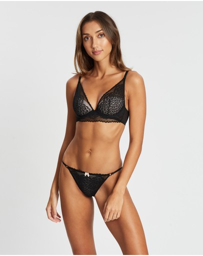 Marks & Spencer Leopard Lace Tanga Briefs Black Mix